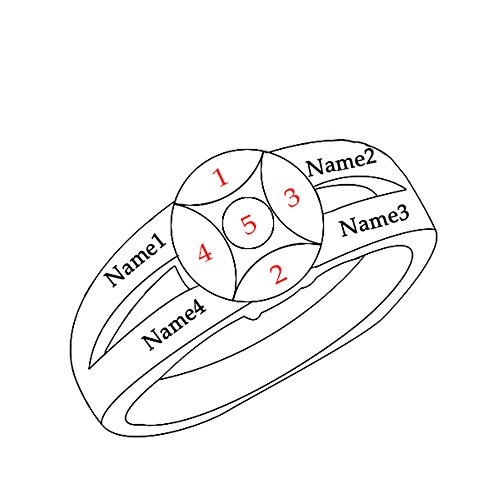 a266XDKSJK Sterling Silver Mothers Rings with Birthstones, Choose 4 Birthstones 4 Names Engraving Customized and Personalized (rose-gold 14) by a266XDKSJK (Image #4)