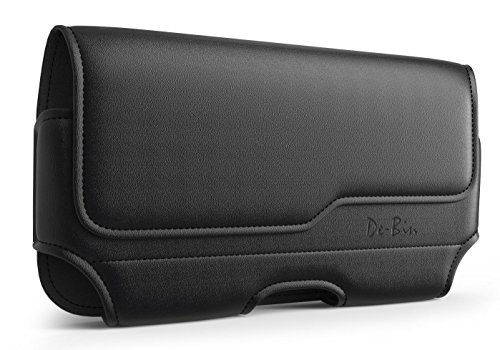 De-Bin iPhone 10 / X/Xs Belt Holster, Premium Leather Holster Pouch Case with Belt Clip Belt Holder Cover for Apple iPhone 10 / X/Xs (Fits Phone w/Otterbox Case on) Black ()