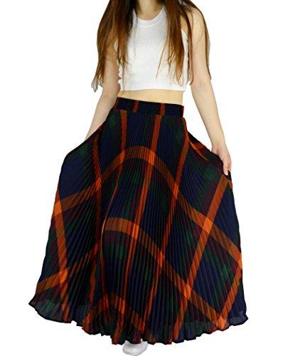 YSJERA Womens Plaid Long Maxi Skirt - Bohemian Chiffon 360 Sunray Pleated Full Skirts (One Size, Purple)