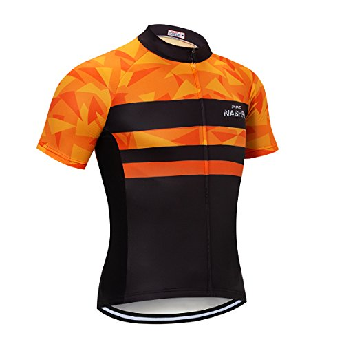 NASHRIO Men's Cycling Jersey Short Sleeve Road Bike Biking Shirt Tops Bicycle Clothes - Breathable and Quick-Dry with 3 ()