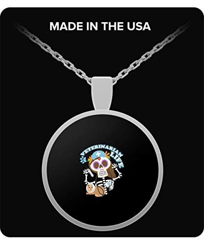 Vet Tech Veterinarian Funny Life Skeleton Halloween Necklace