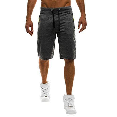 (YAYUMI Summer Men's Lace-up Pocket Casual Solid Color Five-Point Shorts Dark Gray)