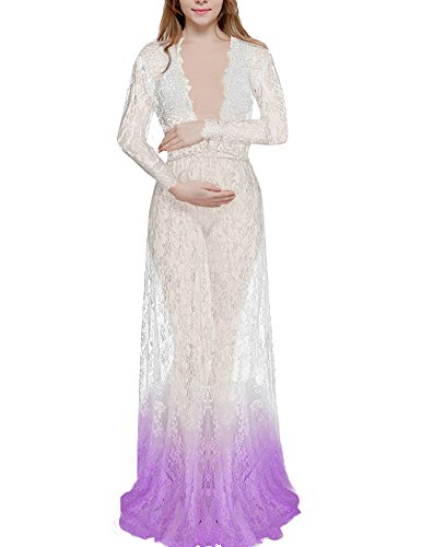 Saslax Maternity Sexy Deep V-Neck Long Sleeve Lace See Through Maxi Dress For (Cosplay Outfits For Sale)