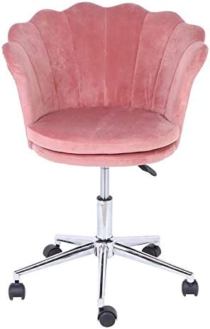 Velvet Vanity Chair,Flower Shaped Desk Chair Peach Pink Velvet Accent Chair 360 Degree Swivel Shell Chair Height Adjustable Desk Chair