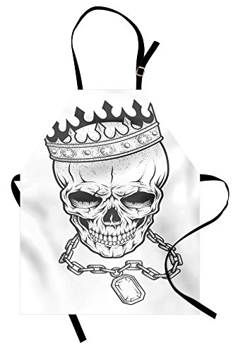 Ambesonne King Apron, Sketchy Skull with Crown Hip Hop Street Style Necklace Chain Gem Image Print, Unisex Kitchen Bib Apron with Adjustable Neck for Cooking Baking Gardening, Charcoal Grey (Hip Hop Costume Images)