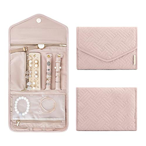 BAGSMART Travel Jewelry Organizer Roll Foldable Jewelry Case for Journey-Rings, Necklaces, Bracelets, Earrings, Soft Pink ()