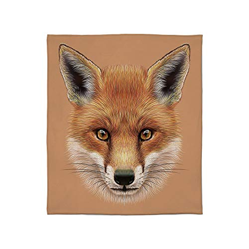 - YOLIYANA Comfort Blanket,Fox,for Sofa Travel Couch,Size Throw/Twin/Queen/King,Cute Fluffy Face of Forest Fox Young