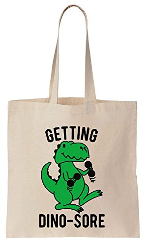 Getting Dino-Sore Green T-Rex Lifting Sacchetto di cotone tela di canapa