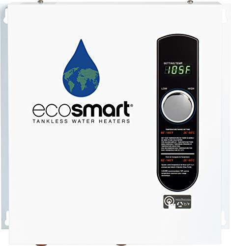 EcoSmart ECO 27 Electric Tankless Water Heater, 27 KW at 240 Volts, 112.5 Amps with Patented Self Modulating Technology (Hot Tub Heat Exchanger)