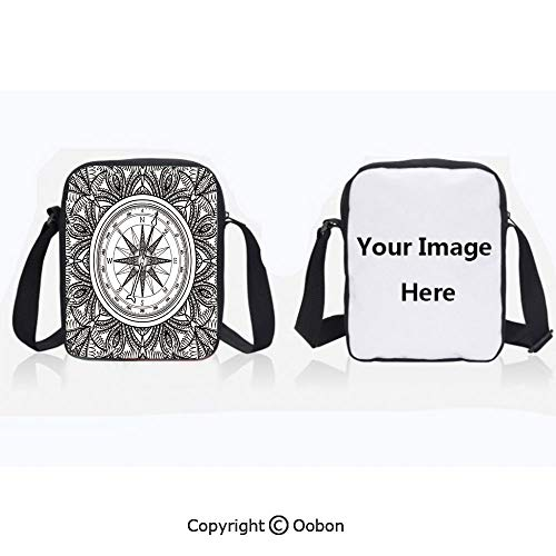 Fashion Water Resistant Polyester Shoulder Bag Wind Rose Surrounded by Ornate Floral Arrangement Pattern Destination Graphic Black White Zipper Anti-Theft Crossbody Bags Phone Purse Wallet For Women
