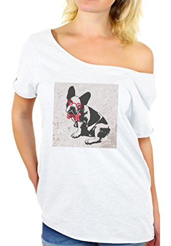 Awkward Styles Women's French Bulldog in a Bow Tie Vintage Graphic Off Shoulder Tops T shirt True Gentleman Puppy White (Quirky Fancy Dress Ideas)