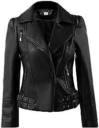 Missy Black Cropped Ladies Biker Real Lambskin Leather Short Jacket Bolero