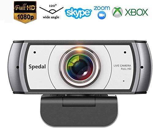 🥇 Webcam 120° Gran Angular Full HD 1080P Cámara Web Compatible con Skype
