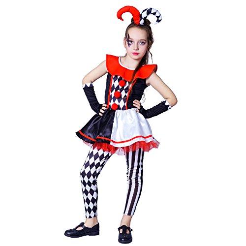 flatwhite Jester Costume Girl's Halloween Costume (S (4-6Y))