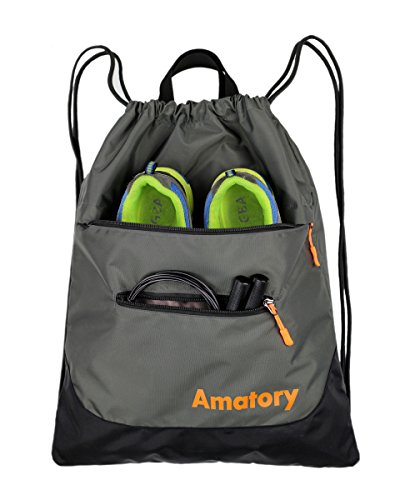 Drawstring Backpack Sports Gym String Bag Cinch Sack Gymsack Sackpack Waterproof (Gray) by Amatory