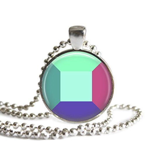 (Steven Universe Alexandrite Gem Necklace 1 inch Silver Plated Picture)