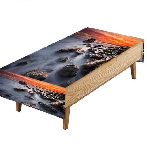 PINAFORE 100% Polyester, Eco-Friendly Safe Decor Reef Rock Beach Water Moody Sky Gloomy Mother Earth Print Heat Moisture Resistance Indoor Outdoor Table Covers W60 x L120 INCH
