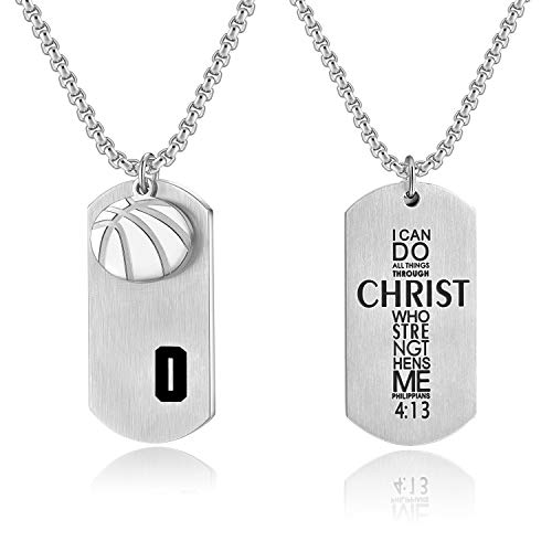 - VI.SPORT Basketball Dog Tag Player Number 0 Necklace Philippians 4:13 Jewelry (Silver)