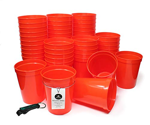 Rolling Sands 16 Ounce Reusable Plastic Stadium Cups Orange, Bulk 50 Pack, Made in USA, BPA-Free Dishwasher Safe Plastic Tumblers and Bottle Opener