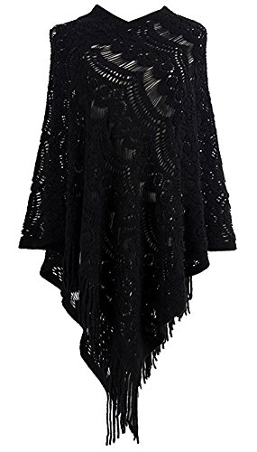 Women's Pullovers Sweater Lace Crochet Knit Poncho Cape Wrap Tassle Shawl (Crochet Wrap)