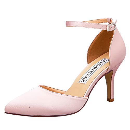 ElegantPark HC1811 Women Pointed Toe High Heel Pumps Satin Ankle Strap Wedding Bridal Evening Party Dress Shoes Blush US 7 ()