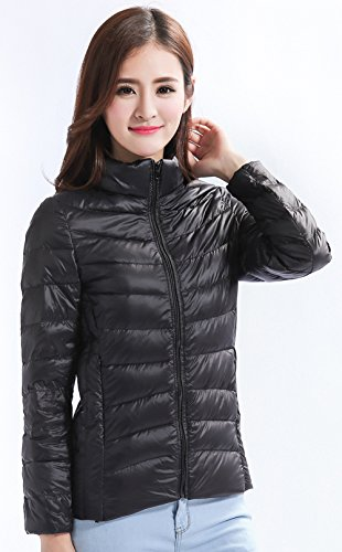 Stand Black Lightweight Packable Down Jacket Color Collar Available Short Santimon Puffer Womens 13 OwI7UqT