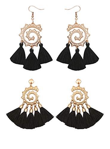 (Geerier 2 Pairs Spiral Hoop Earrings Set Vintage Tribal Swirl Black Tassel Dangle Earrings for Women (Black))
