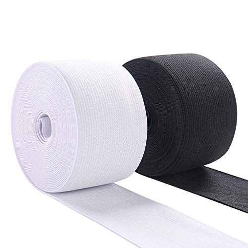 Sewing Material - Elastic Band Material for Sewing 2 Inch Wide Braided Elastic Cord Pants Elastic Spool Heavy Stretch for Waistband 10 Yard (5 Yard White,5 Yard Black)