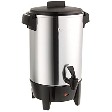 West Bend 58030 Highly Polished Aluminum Party Perk Coffee Urn Features Automatic Temperature Control Large Capacity with Quick Brewing Smooth Prep and Easy Clean Up, 30-Cup, Silver
