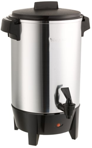 Percolator Aluminum Commercial - West Bend 58030 Highly Polished Aluminum Party Perk Coffee Urn Features Automatic Temperature Control Large Capacity with Quick Brewing Smooth Prep and Easy Clean Up, 30-Cup, Silver