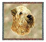 Pure Country 1189-LS Wheaton Terrier Pet Blanket, Canine on Beige Background, 54 by 54-Inch
