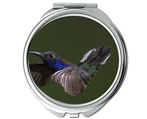 Mirror,Compact Mirror,Animal Bird Hummingbird Small Elegant Pocket Mirror,1 X 2X -