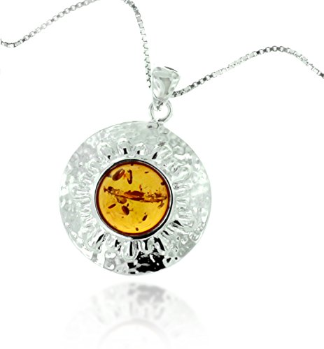 Rhodium Plated 925 Sterling Silver Amber Gemstone Round Disc Pendant Necklace, 18 inches