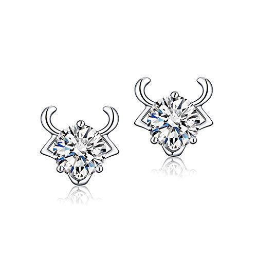 Adisaer Sterling Silver Plated Earrings for Women Native Taurus Stud Earrings Silver ()