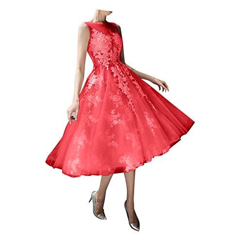 Abendkleider Prinzess Tuell Promkleider Abiballkleider Spitze Wadenlang Ballkleider mia Rot Linie Kurz La Braut Rock A q0wIXvY