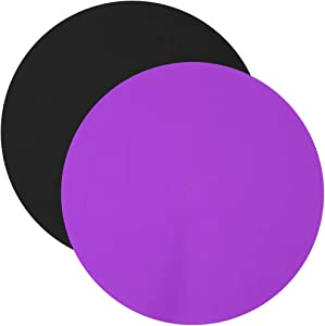 Pendolr Silicone Microwave Mat Set of 2, Induction Cooker Round Nonstick Heat Resistant Oven Mat, Turntable Mat for Kitchen, 12 Inch (Purple,Black)