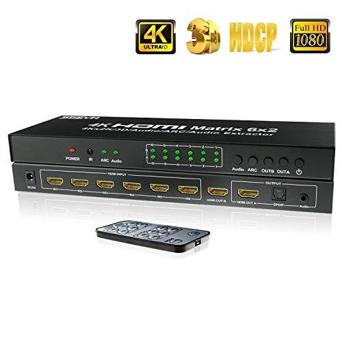 HDMI Matrix 6x2, HDMI Matrix Switch Spillter, HDMI Matrix 6 Input 2 Output, SGEYR HDMI Switch Audio Extractor,Support 4K@30Hz ARC,SPDIF HDMI Switch Splitter IR Remote (HDMI Matrix 6X2)