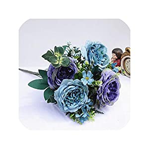 Tokyo Summer 1 Bundle Artificial Plastic Flowers for Home Vases Room Wedding Decoration Christmas Silk Retro Peony Bride Bouquet Fake Plant,Blue 65