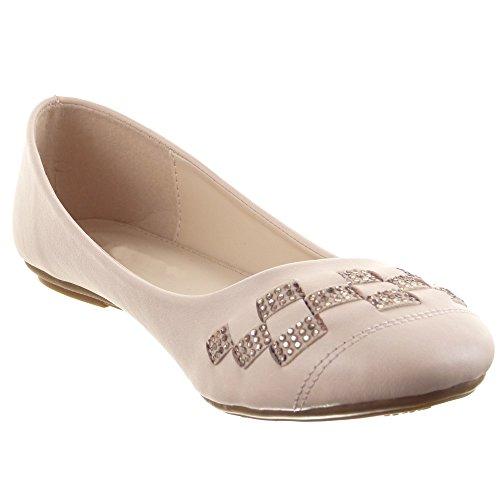 Sopily - Zapatillas de Moda Bailarinas Tobillo mujer acabado costura pespunte strass Talón Tacón ancho 1 CM - Rosa