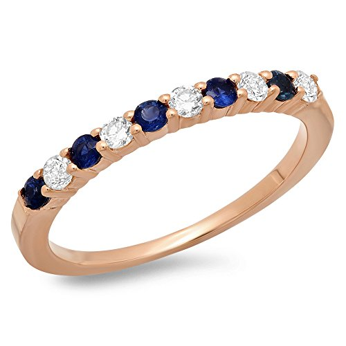 14K-Gold-Round-Cut-Blue-Sapphire-White-Diamond-Ladies-Stackable-Anniversary-Wedding-Band-12-CT