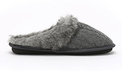 Pembrook Ladies Faux Fur Cable Knit Slippers Comfortable Memory