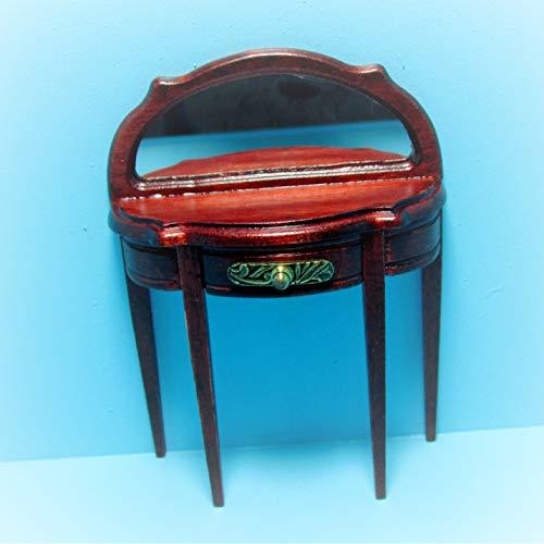 Dollhouse Half Round Side Table Mirror Drawer KL2232 - Miniature Scene Supplies Your Fairy Garden - Doll House - Outdoor House Decor ()