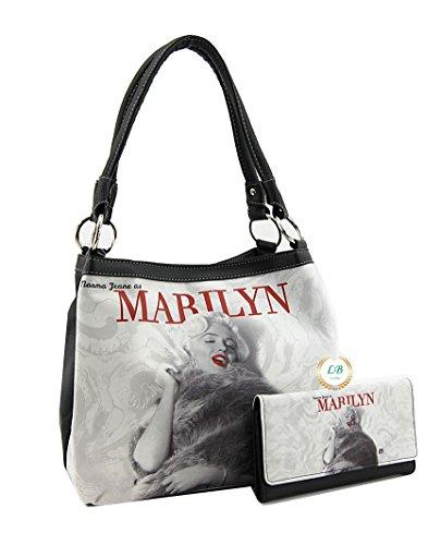 Marilyn Monroe Top Zip Shoulder Bag (Marilyn Monroe Medium Purse Wallet Set, Two Way Style Bag)