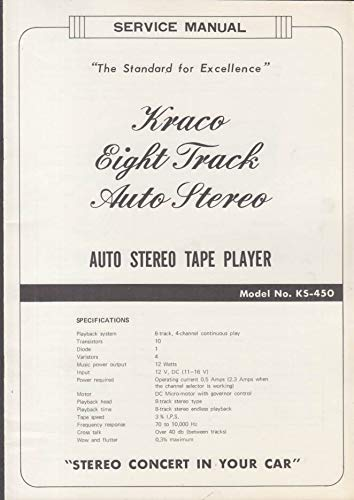 ORIGINAL Service Manual: Kraco 8-Track Auto Stereo Tape ... on admiral stereo, cb radio with car stereo, realistic stereo, webcor stereo, emerson stereo, hitachi stereo, basic car stereo, sylvania stereo, memorex stereo, braun stereo, craig stereo,
