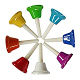 8 Note Diatonic Metal Hand Bells Set Colorful Handbell Musical Toy Percussion Instrument for Kids,Adults,Used for Festival,Musical Teaching,Church Chorus,Wedding,Family Party