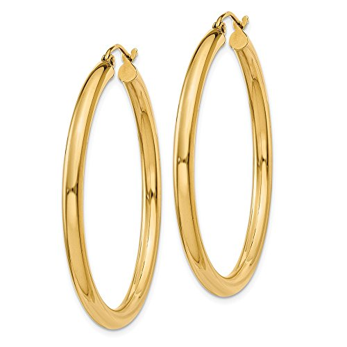 Designs by Nathan, Classic 14K Yellow Gold Tube Hoop Earrings: Seamless, Hollow, and Lightweight ()