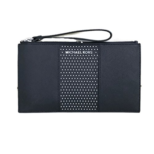 Michael Kors Saffiano Leather Micro Studded Clutch Wristlet (Black) by Michael Kors