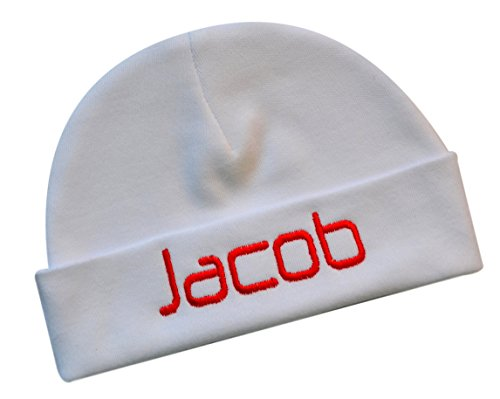 Custom Beanie Hats - Embroidered Baby Boy Hat Personalized Keepsake Custom Infant Hat (White)