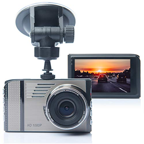 ECELLENCE Car Dash cam - Full HD 1080p, 170 Wide Angle, Parking Mode with Impact and Motion Detection, 3 LCD, Night Vision, and Loop Recording, Built-in Microphone and Speaker