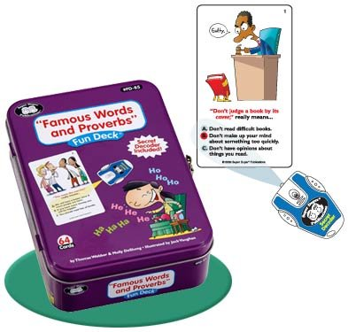 Super Duper Publications Famous Words and Proverbs Fun Deck Flash Cards with Secret Decoder Educational Learning Resource for Children (The Longest Journey Begins With A Single Step)